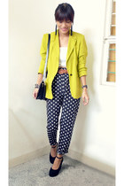 black polka pinkaholic fashion shoppe pants - lime green riots barbie blazer
