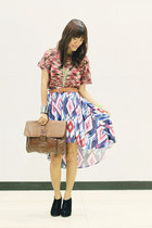 purple asymmetrical Forever 21 skirt - brown fabmanilabagscom bag