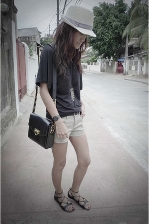 black Versace vintage bag accessories - brown Zara shorts - Mango top