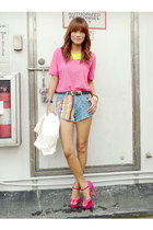 blue Bubbles shorts - white the ramp crossings blazer - hot pink Tomato shirt