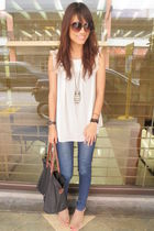tan random from depstore shoes - vintage top - fab necklace