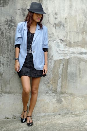 blue Archive blazer - black thrifted dress - black