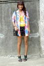 Thrifted-blazer-yellow-piper-blue-top-forever-21-shorts-versace-accessor