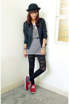 black from Thailand dress - black thrifted jacket - black F-Stop leggings - red