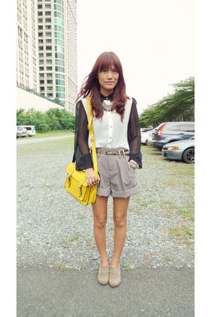 white sheer What A Girl Wants shirt - yellow satchel fashionstopshop bag