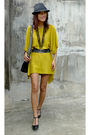 Yellow-thrifted-dress-black-forever-21-shorts-black-gillian-paris-bag-access