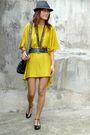 Yellow-thrifted-dress-black-forever-21-shorts-black-gillian-paris-bag-access