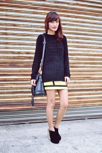 chartreuse bodycon style swap skirt - black glittery thrifted sweater