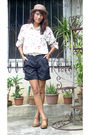 White-vintage-floral-shirt-black-going-modern-by-archive-shorts-brown-shoes-
