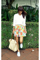 beige from malaysia bag - white g2000 shirt - orange from a blogshop skirt
