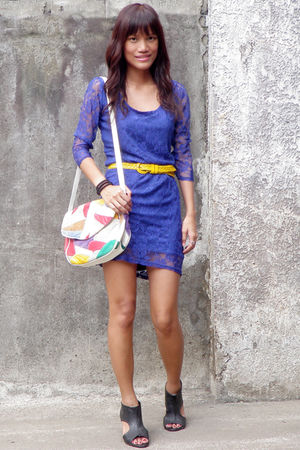 purple H&M dress - yellow from dept store belt - bought online accessories - Pri