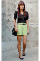 black Beso Beso top - green vintage shorts - black from vietnam shoes - bought o