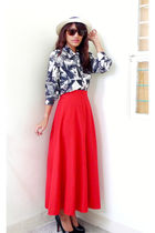 white Archiveclothing top - red Archiveclothing skirt