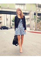 blue bow Wardrobe Check dress - black sequined Promod jacket