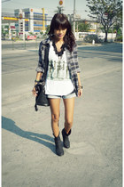 black thrifted boots - navy plaid thrifted shirt - white artwork top - black iam