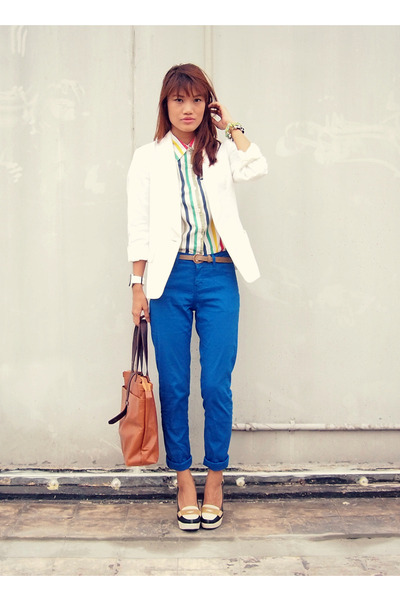 white meister watch - dark brown So FAB bag - blue unica hija pants