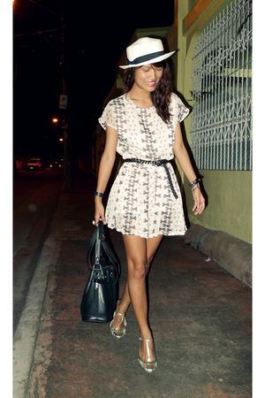 beige bow thrifted dress - white gozum hat - gold elle shoes - black from vietna