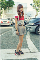 red colorblock Mango top - black Archive shorts - black 2 toned Payless wedges