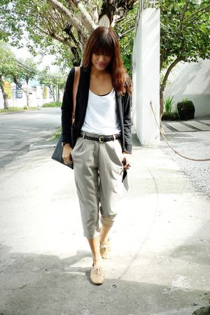 silver thrifted pants - beige custom made shoes - white Topshop top