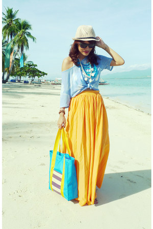 orange maxi Zara skirt - eggshell SM hat - aquamarine from Palawan native bag