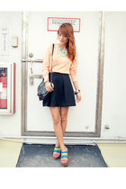 peach Promod sweater - aquamarine jhajing necklace - black Mango skirt