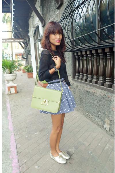lime green From SG bag - black Ralph Lauren top - blue polka custom made skirt -