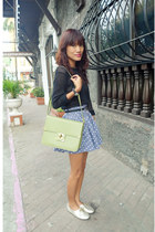 lime green From SG bag - black Ralph Lauren top - blue polka custom made skirt -