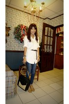white Ralph Lauren shirt - navy fab jeans - black golddotmultiplycom bag - light