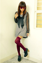 black Bazaar shoes - black thrifted dress - crimson Saizen socks