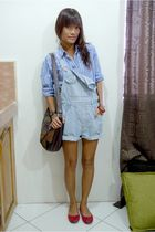 blue borrowed from brother top - blue thrifted shorts - red Steve Madden shoes -