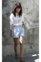 white giordano shirt - blue Guess shorts - brown From HK shoes - white vintage b
