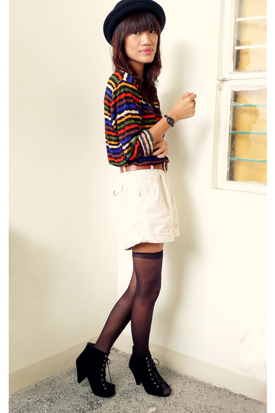 black Chickflick heels - black Ebay hat - eggshell vintage shorts