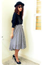 Black-audrey-hepburn-dress-used-as-top-top-white-archiveclothing-skirt-black