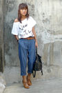 White-thrifted-top-top-blue-what-a-girl-wants-pants-brown-bought-online-shoe