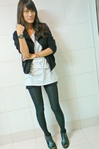 gray shirt dress top - cropped studded jacket - wedge tights - shoes