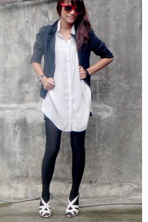 silver vintage top - silver daintyshopmultiplycom shoes - black blazer