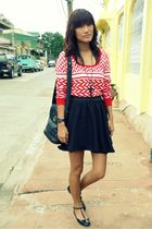 red Archive Clothing top - black frome dept store skirt - black Millies shoes -