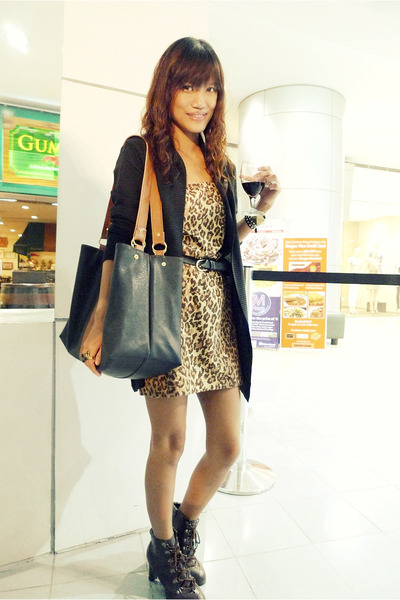 brown archvie clothing dress - black Bazaar cardigan - black Bazaar bag - brown