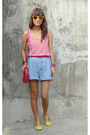 Red-thrifted-top-vintage-shorts-yellow-bought-online-shoes-liz-claiborne-a