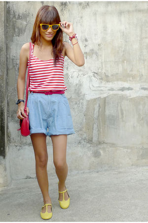 red thrifted top - vintage shorts - yellow bought online shoes - liz claiborne a