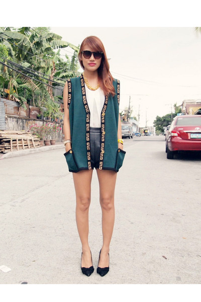 forest green thrifted vest - black South Sartorial shorts