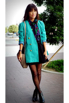 blue shopdeathbyplatforms blazer - black thrifted vintage top - black SM skirt -