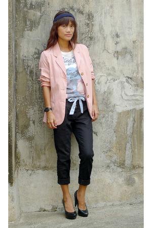 black Mango pants - black Boutique PRP shoes - pink thrifted blazer