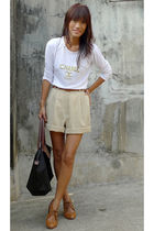 white Chanel shirt - beige thrifted shorts - brown longchamp accessories - bough