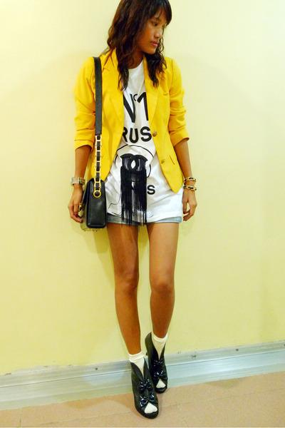 yellow thrifted blazer - white PROUDRACE shirt - black ichigoshoes shoes - yello