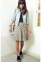 dark khaki polka Mon Petit Boudoir skirt - sky blue thrifted jacket