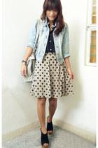 dark khaki polka Mon Petit Boudoir skirt - sky blue thrifted jacket