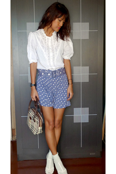 thrifted top - blue Going Modern by Archive Clothing shorts - white CMG shoes -