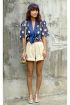 blue Archive Clothing top - brown vintage shorts - gold elle shoes - beige Guess