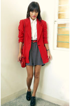 black From Bazaar shoes - red thrifted vintage blazer - white vintage shirt - re